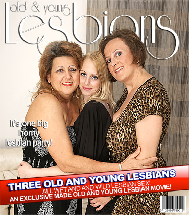 Three old and young lesbians have fun on the couch