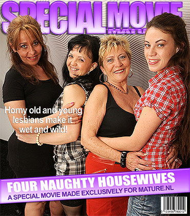 Four naughty old and young lesbians getting wet
