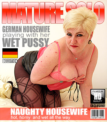 German housewife playing with her pussy