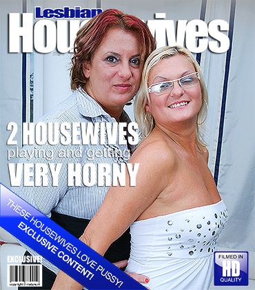 Two naughty lesbian housewives getting it on