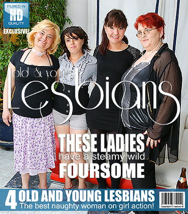 Four old and young lesbians making the party go wet