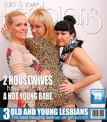 Three old and young lesbians have fun on bed
