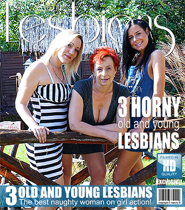 Three old and young lesbians making fun on their bed