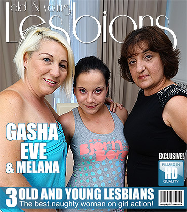 Three old and young lesbians making out on the couch