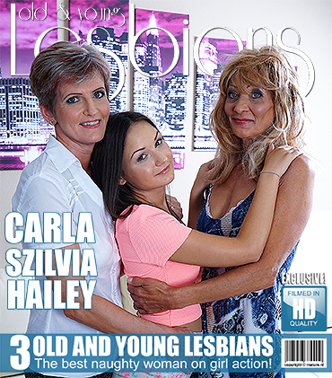Three naughty old and young lesbians lick and get wet