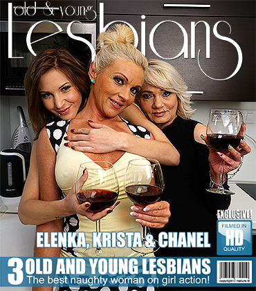 Three horny old and young lesbians make out on the bed